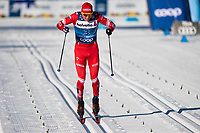 1st January 2020, Toblach, South Tyrol , Italy;  Alexander Bolshunov of Russia finishes in the mens 15 km classic technique pursuit during Tour de Ski on January 1, 2020 in Toblach.