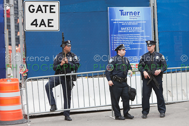 Port Authority Police armed with assault rifles at the World Trade Center PATH station.