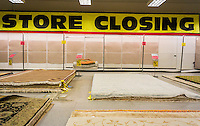 Store closing sign in the rug department at the soon to be closing Sears store in Rego Park in the New York borough of the Queens on Saturday, February 18, 2017. Sears Holdings has deemed the store unprofitable and it will be closing sometime in April. The store is one of the 42 stores they will close in the spring. Sears is also closing 108 Kmart stores. (© Richard B. Levine)