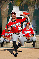 Carolina Mudcats pitcher Blair Walters (28) warming up in the bullpen before a game against the Myrtle Beach Pelicans at Ticketreturn.com Field at Pelicans Ballpark on June 7, 2015 in Myrtle Beach, South Carolina. Myrtle Beach defeated Carolina 4-1. (Robert Gurganus/Four Seam Images)