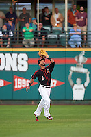 Rochester Red Wings center fielder Eddie Rosario (1) catches a fly ball during a game against the Syracuse Chiefs on July 1, 2016 at Frontier Field in Rochester, New York.  Rochester defeated Syracuse 5-3.  (Mike Janes/Four Seam Images)