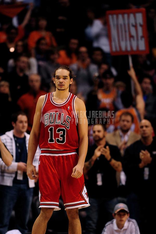 Jan. 22, 2010; Phoenix, AZ, USA; Chicago Bulls center (13) Joakim Noah against the Phoenix Suns at the US Airways Center. Chicago defeated Phoenix 115-104. Mandatory Credit: Mark J. Rebilas-