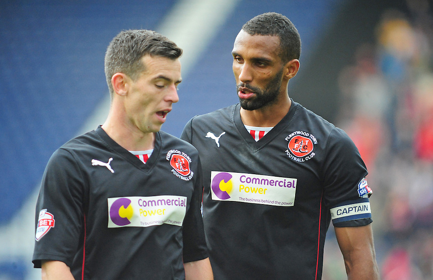 Fleetwood Town's Steven Schumacher, left, talks with team-mate Nathan Pond<br /> <br /> Photographer Chris Vaughan/CameraSport<br /> <br /> Football - The Football League Sky Bet League One - Preston North End v Fleetwood Town - Saturday 25th October 2014 - Deepdale - Preston<br /> <br /> &copy; CameraSport - 43 Linden Ave. Countesthorpe. Leicester. England. LE8 5PG - Tel: +44 (0) 116 277 4147 - admin@camerasport.com - www.camerasport.com
