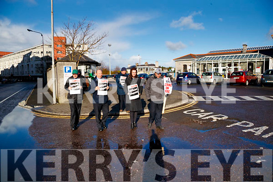 Irish Rail workers on strike in Casement station Tralee on Tuesday Morning.