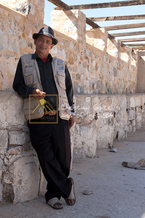 Mr Timotheus Morris, grandson of Abraham Morris, Southern Namibia, in 2010. He is seen standing in the remains of the camel stables of the German colonial forces in Warmbad. Abraham Morris, born to a Scottish father and a Bondelswart mother, was Jacob Marengo's military right-hand man during the Great Nama Uprising.