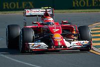 March 14, 2014: Kimi Raikkonen (FIN) from the Scuderia Ferrari team during practice session two at the 2014 Australian Formula One Grand Prix at Albert Park, Melbourne, Australia. Photo Sydney Low.