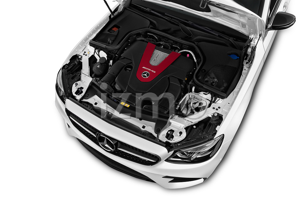 Car stock 2017 Mercedes Benz E Class AMG 43 4 Door Sedan engine high angle detail view