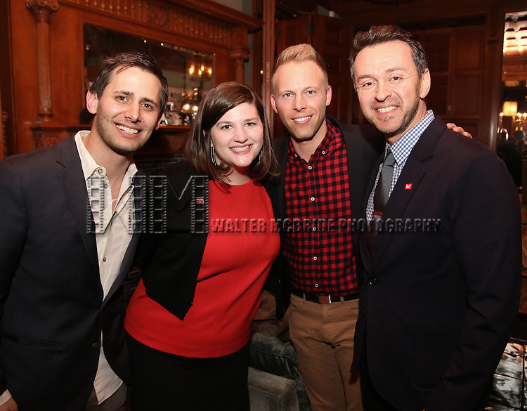 Benj Pasek, Rachel Routh, Justin Paul and Andrew Lippa during the Dramatists Guild Fund intimate salon with Benj Pasek and Justin Paul at the home of Kara Unterberg on March 7, 2016 in New York City.
