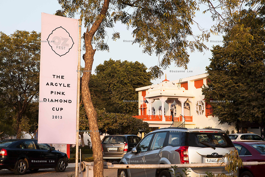 The entrance banners at the Argyle Pink Diamond Cup, organised as part of the 2013 Oz Fest in the Rajasthan Polo Club grounds in Jaipur, Rajasthan, India on 10th January 2013. Photo by Suzanne Lee