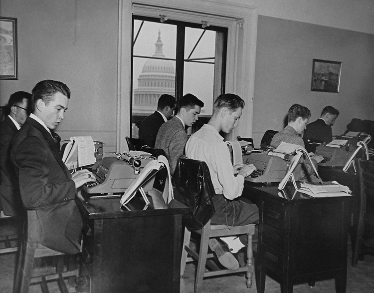 Capitol page boys learning to type, on June 28, 1953. (Photo by CQ Roll Call via Getty Images)