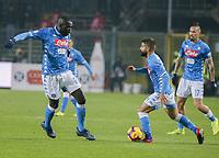 Kalidou Koulibaly of Napoli  Lorenzo Insigne of Napoli  during the  italian serie a soccer match,Atalanta - SSC Napoli at  the Atleti azure d'italia   stadium in Bergamo Italy , December 03, 2018