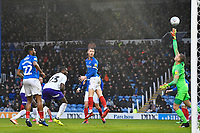Portsmouth keeper Alex Bass of Portsmouth makes a fingertip save from a header from Daniel Udoh of Shrewsbury Town during Portsmouth vs Shrewsbury Town, Sky Bet EFL League 1 Football at Fratton Park on 15th February 2020