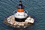 A view of the Plum Beach lighthouse next to the Jamestown Bridge on the North Kingstown, R.I. side. Aerial images of RI/Narragansett Bay (Photo/Joe Giblin)