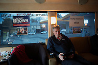 Senator Scott Brown (R-MA) rides his campaign bus between campaign stops in Framingham and Lowell, Massachusetts, USA, on Thurs., Nov. 2, 2012. Senator Scott Brown is seeking re-election to the Senate.  His opponent is Elizabeth Warren, a democrat.