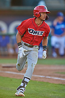Jeremiah Jackson (00) of the Orem Owlz hustles to first base against the Ogden Raptors at Lindquist Field on July 27, 2019 in Ogden, Utah. The Raptors defeated the Owlz 14-1. (Stephen Smith/Four Seam Images)