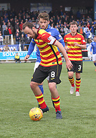 Andy Stirling pressuring Stuart Bannigan in the SPFL Ladbrokes Championship football match between Queen of the South and Partick Thistle at Palmerston Park, Dumfries on  4.5.19.