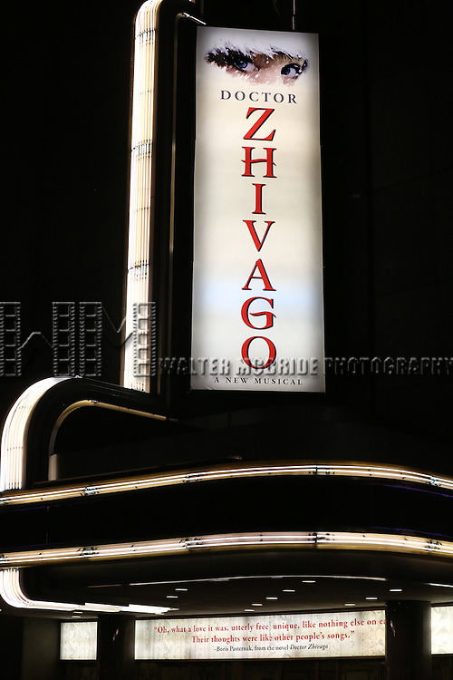 Theatre Marquee for the Broadway Opening Night of 'Doctor Zhivago' at The Broadway Theatre on April 21, 2015 in New York City.