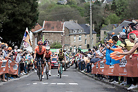 Joey Rosskopf (USA/CCC) leading the early breakaway group with amongst other, Robin Carpenter (USA/Rally UHC Cycling) and Koen Bouwman (NED/Jumbo Visma)<br /> <br /> 83th Flèche Wallonne 2019 (1.UWT)<br /> 1 Day Race: Ans – Huy 195km<br /> <br /> ©kramon