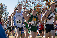 Notre Dame's Matt Gibbs battles the crowd early in the Class 3 race where the sophomore finished 116th at the 2015 MSHSAA State Cross Country Championships.