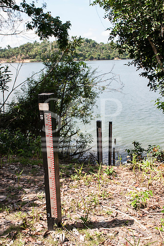 Xingu River, Para State, Brazil. Water level measurement for dam construction.