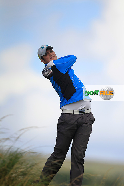 Shane McGlynn (Carton House) on the 18th tee during the South of Ireland Amateur Open Championship Third Round at Lahinch Golf Club  29th July 2013 <br /> Picture:  Thos Caffrey / www.golffile.ie