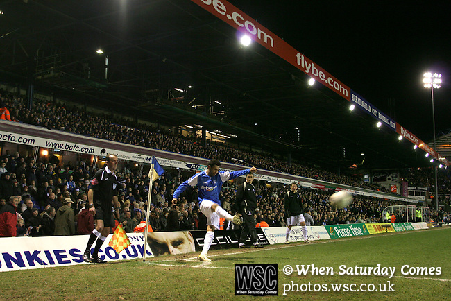 Birmingham City 0 Liverpool 7, 21/03/2006. St Andrews, FA Cup 6th Round. Birmingham City (blue) versus Liverpool,  The home side lost 0-7. Picture shows Jermaine Pennant takes a corner for City in front of his fans. Photo by Colin McPherson.