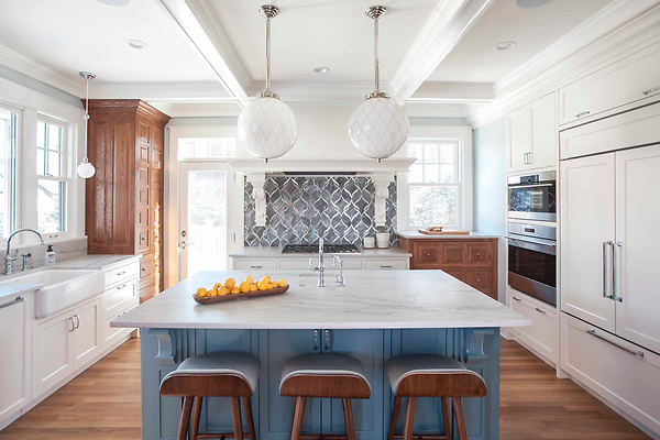 Sophie, a waterjet glass mosaic,  shown in honed Alabaster, honed Labradorite, and Wavy Silver glass.<br /> <br /> -photo courtesy of Jenna &amp; Lauren Weiler <br /> TreHus Architects, Interior Designers, and Builders <br /> And Tile by Design.