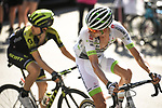 Warren Barguil (FRA) Team Fortuneo-Samsic and Mikel Nieve (ESP) Mitchelton-Scott in action during Stage 11 of the 2018 Tour de France running 108.5km from Albertville to La Rosiere Espace San Bernardo, France. 18th July 2018. <br /> Picture: ASO/Pauline Ballet   Cyclefile<br /> All photos usage must carry mandatory copyright credit (&copy; Cyclefile   ASO/Pauline Ballet)