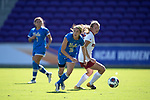 ORLANDO, FL - DECEMBER 03: Zoey Goralski #26 of UCLA pushes the ball upfield against Stanford University during the Division I Women's Soccer Championship held at Orlando City SC Stadium on December 3, 2017 in Orlando, Florida. Stanford defeated UCLA 3-2 for the national title. (Photo by Jamie Schwaberow/NCAA Photos via Getty Images)