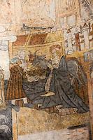 Europe/France/Midi-Pyrénées/46/Lot/Lunegarde: Nativité, Peintures murales, peintures à la détrempe du XVI ème siècle du choeur de l'église Saint-Julien-de-Brioude