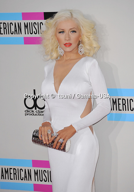 Christina Aguilera arriving at the American Music Awards 2013 at the Nokia Theatre in Los Angeles.