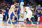 Real Madrid's Sergio Rodriguez and Thompkins and UCAM Murcia's Facundo Campazo during the first match of the playoff at Barclaycard Center in Madrid. May 27, 2016. (ALTERPHOTOS/BorjaB.Hojas)