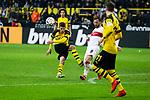 09.03.2019, Signal Iduna Park, Dortmund, GER, 1.FBL, Borussia Dortmund vs VfB Stuttgart, DFL REGULATIONS PROHIBIT ANY USE OF PHOTOGRAPHS AS IMAGE SEQUENCES AND/OR QUASI-VIDEO<br /> <br /> im Bild   picture shows:<br /> Torschuss Christian Pulisic (Borussia Dortmund #22) geblockt von Gonzalo Castro (VfB Stuttgart #8), <br /> <br /> Foto &copy; nordphoto / Rauch