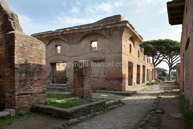 Caseggiato di Diana (House of Diana), 2nd century AD, at the corner of (left) Via dei Balconi and (right) Via di Diana, Ostia Antica, Italy. Picture by Manuel Cohen