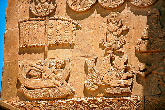 Bas Releif sculptures with scenes from the Bible, far left Jonah id swallowed by a whale,  on the outside of the 10th century Armenian Orthodox Cathedral of the Holy Cross on Akdamar Island, Lake Van Turkey 42