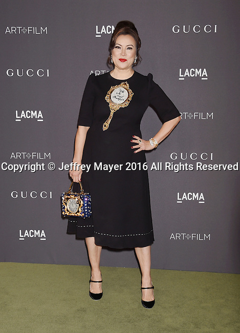 LOS ANGELES, CA - OCTOBER 29: Actress Jennifer Tilly attends the 2016 LACMA Art + Film Gala honoring Robert Irwin and Kathryn Bigelow presented by Gucci at LACMA on October 29, 2016 in Los Angeles, California.