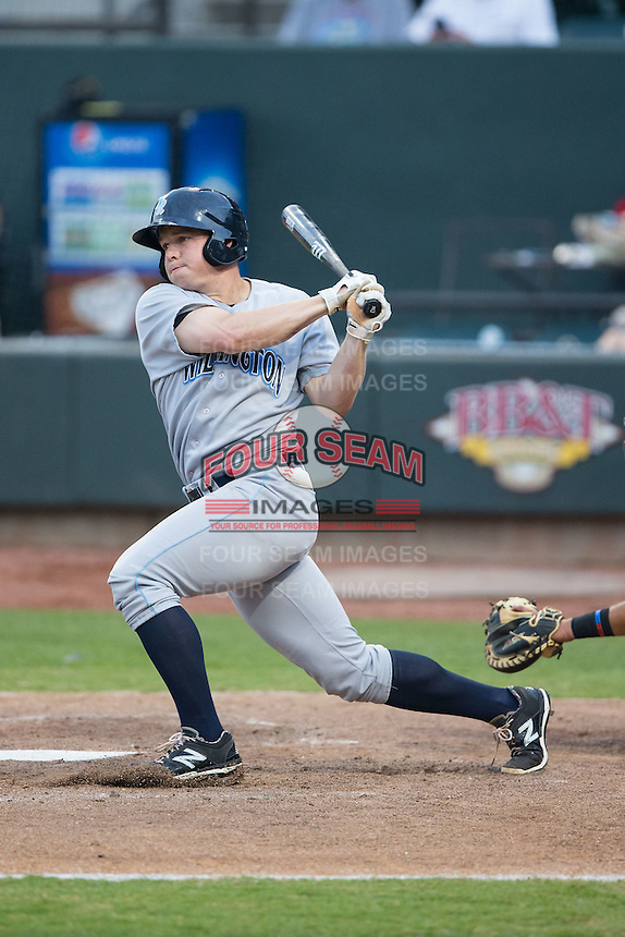 Dexter Kjerstad (37) of the Wilmington Blue Rocks follows through on his swing against the Winston-Salem Dash at BB&T Ballpark on June 10, 2015 in Winston-Salem, North Carolina.  The Blue Rocks defeated the Dash 11-5.  (Brian Westerholt/Four Seam Images)