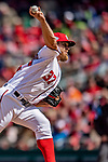 5 April 2018: Washington Nationals starting pitcher Stephen Strasburg on the mound against the New York Mets at Nationals Park in Washington, DC. The Mets defeated the Nationals 8-2 in the first game of their 3-game series. Mandatory Credit: Ed Wolfstein Photo *** RAW (NEF) Image File Available ***