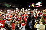 The Wisconsin Badgers celebrate their victory after upsetting number one ranked Ohio State Buckeyes after an NCAA college football game on October 16, 2010 at Camp Randall Stadium in Madison, Wisconsin. The Badgers beat the Buckeyes 31-18. (Photo by David Stluka)