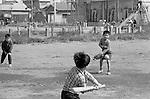 October 1964: Young boys playing baseball during the Showa period. (Photo by Katsuro Okazawa/AFLO)