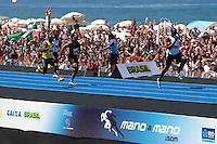 RIO DE JANEIRO; RJ; 13 DE MARÇO 2013 - Velocista jamaicano Usain Bolt durante desafio Mano a Mano dos 150m na Praia de Copacabana na cidade de Rio de Janeiro. FOTO: NÉSTOR J. BEREMBLUM - BRAZIL PHOTO PRESS.