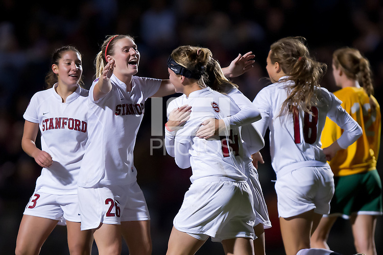 STANFORD, CA - November 12, 2010: Nina Watkins celebrates her goal with teammates during a first-round NCAA soccer match against Sacramento State in Stanford, California.  Stanford won 3-0.