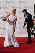 London, UK. 8 May 2016. Actress Michelle Collins struggling with her dress. Red carpet  celebrity arrivals for the House Of Fraser British Academy Television Awards at the Royal Festival Hall.
