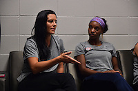 Houston, TX - Saturday Oct. 08, 2016: Ali Krieger, Crystal Dunn during a press conference prior to the National Women's Soccer League (NWSL) Championship match between the Washington Spirit and the Western New York Flash at Houston Sports Park.
