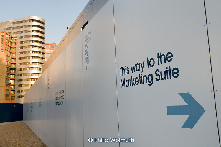 Sign to the marketing suite for Market Square, part of the Paddington Waterside development at Paddington Basin.