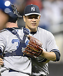 (R-L) Masahiro Tanaka, Brian McCann (Yankees),<br /> MAY 14, 2014 - MLB :<br /> Pitcher Masahiro Tanaka of the New York Yankees celebrates his sixth win with his first shutout in the MLB with catcher Brian McCann after the Major League Baseball game against the New York Mets at Citi Field in Flushing, New York, United States. (Photo by AFLO)