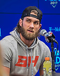 7 October 2017: Washington Nationals outfielder Bryce Harper answers questions from the media prior to the second game of the NLDS against the Chicago Cubs at Nationals Park in Washington, DC. The Cubs shut out the Nationals 3-0 to take a 1-0 lead in their best of five Postseason series. Mandatory Credit: Ed Wolfstein Photo *** RAW (NEF) Image File Available ***