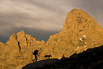 The Grand Teton looms behind a hiker and her dog in the high alpine of the Teton Range, Wyoming.