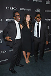 Left to right Sean Stockman, Cecily Strong and Nathan Morris arrive at the 2017 Clio Awards in The Tent at Lincoln Center in New York City on September 27, 2017.