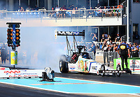 Sept. 22, 2013; Ennis, TX, USA: NHRA top fuel dragster driver Brandon Bernstein during the Fall Nationals at the Texas Motorplex. Mandatory Credit: Mark J. Rebilas-